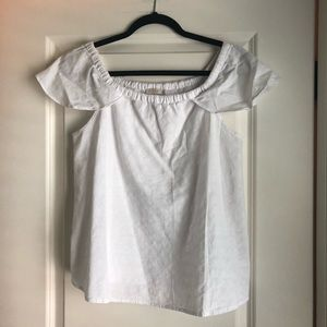 JCREW White Top with ruffled capped sleeves
